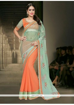 Renowned Orange Patch Border Work Designer Saree