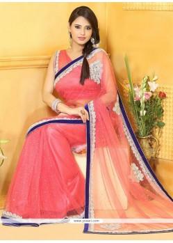 Flawless Pink Net Designer Saree