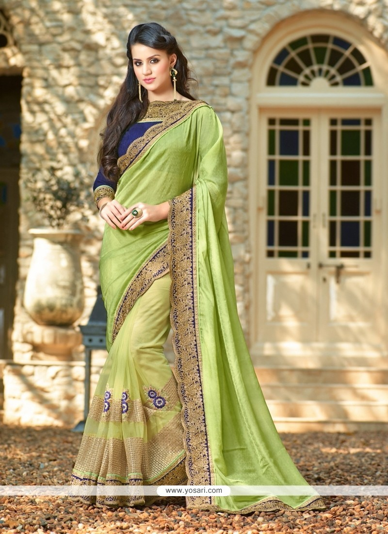 Majestic Net Patch Border Work Classic Designer Saree