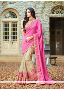 Gorgonize Net Pink Patch Border Work Classic Designer Saree