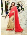 Gripping Beige And Red Embroidered Work Classic Designer Saree