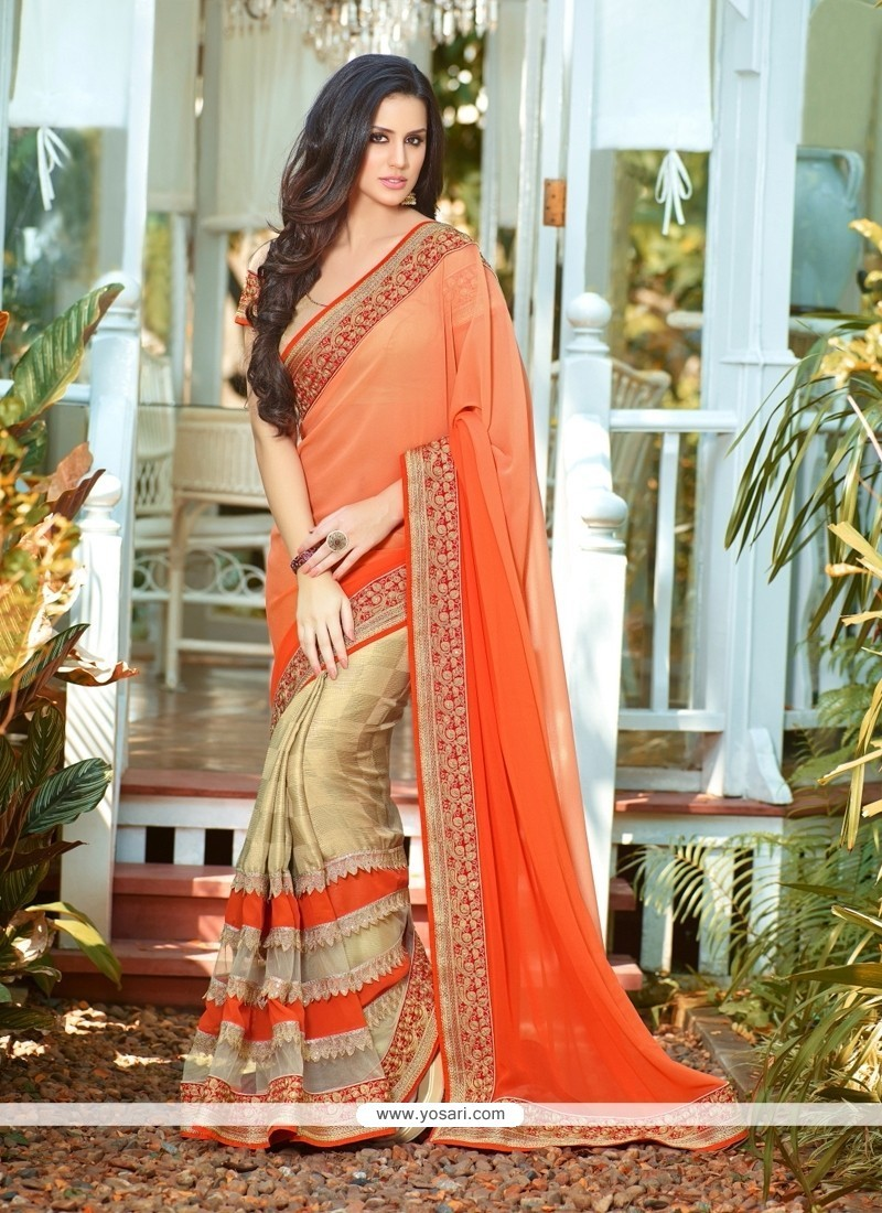 Aspiring Georgette Patch Border Work Classic Designer Saree