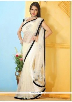 Off White Net Stone Work Designer Saree