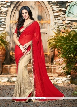 Sumptuous Georgette Red Classic Designer Saree
