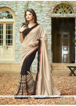 Fab Black Patch Border Work Shimmer Georgette Classic Designer Saree
