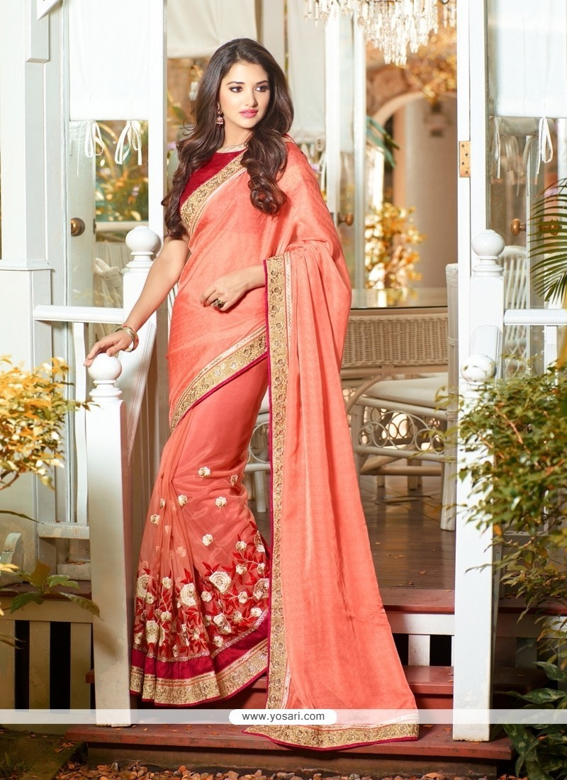 Modest Orange Classic Designer Saree