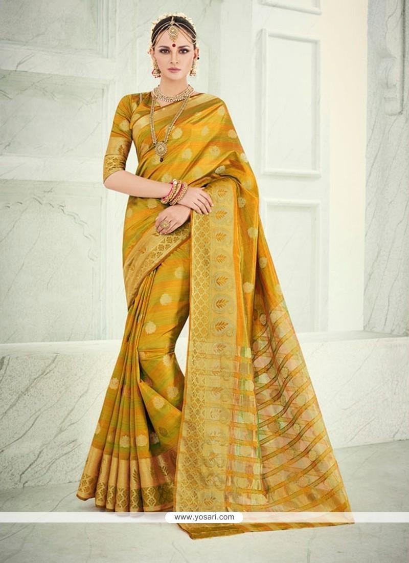 Floral Mustard Patch Border Work Banarasi Silk Designer Saree