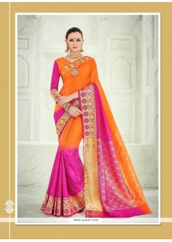 Floral Orange Patch Border Work Designer Saree
