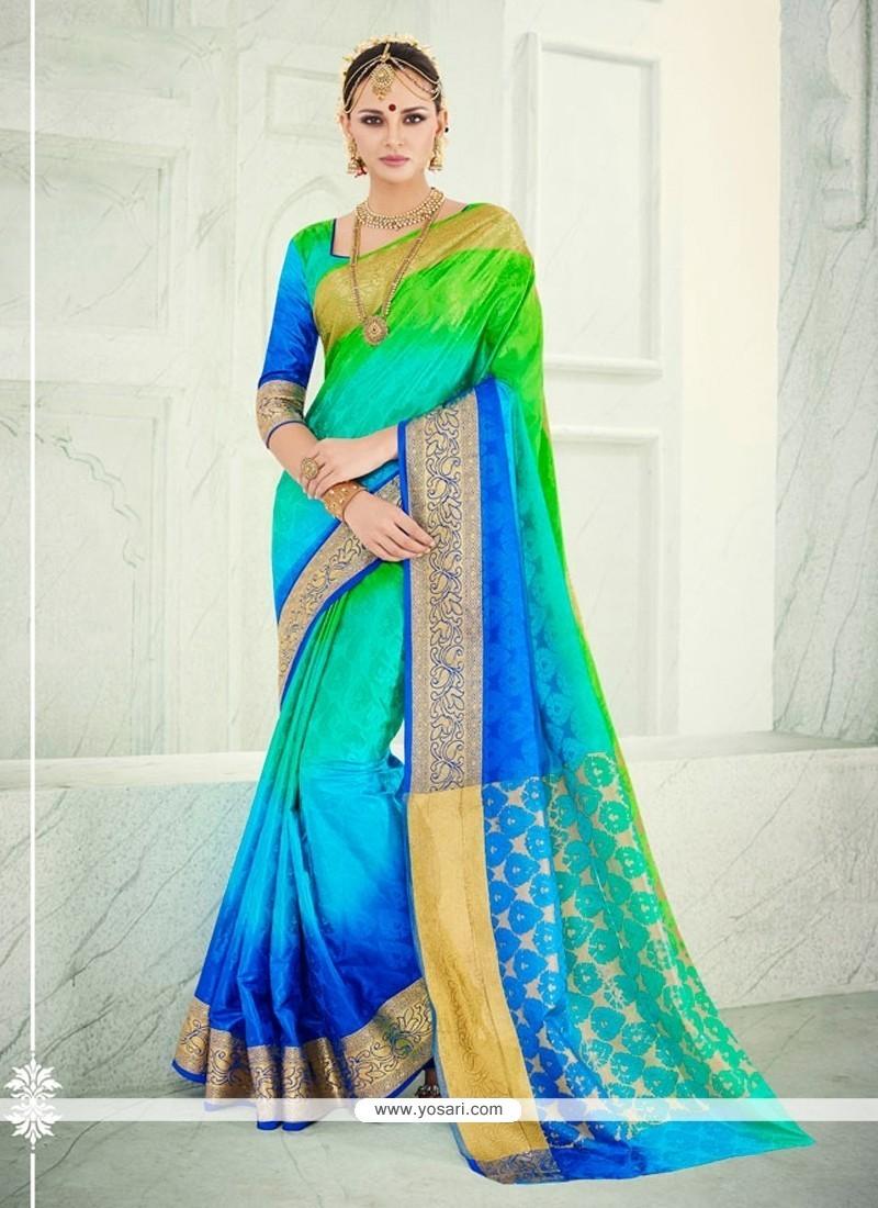 Bedazzling Banarasi Silk Blue Designer Saree