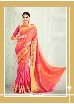 Wonderous Orange Patch Border Work Banarasi Silk Designer Saree