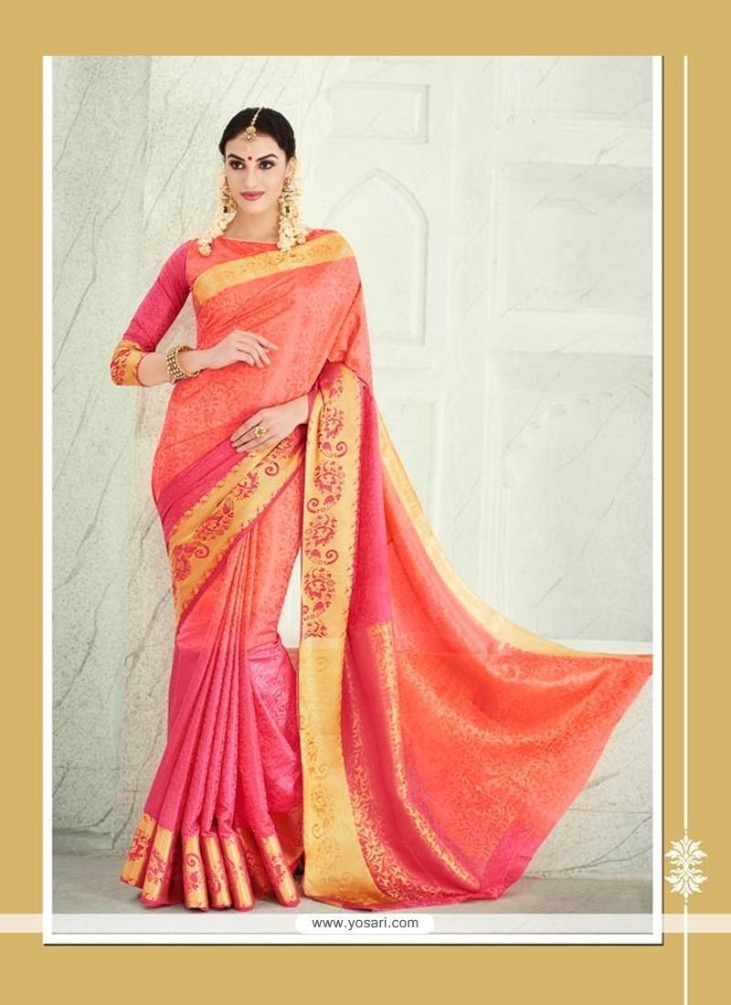Wonderous Orange Patch Border Work Banarasi Silk Designer Saree
