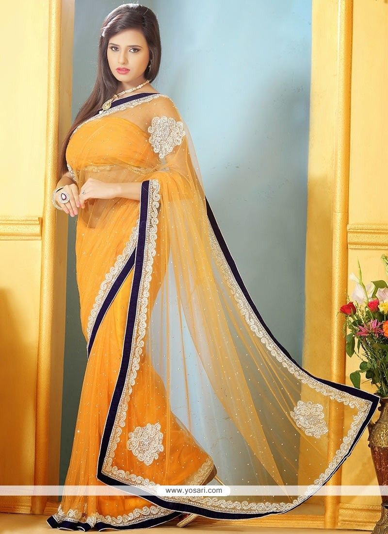 Fascinating Orange Net Designer Saree