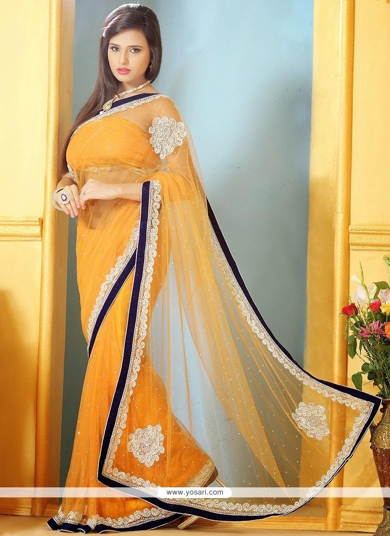 Fascinating Orange Net Designer Saree