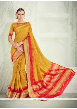 Invaluable Banarasi Silk Mustard Patch Border Work Designer Saree