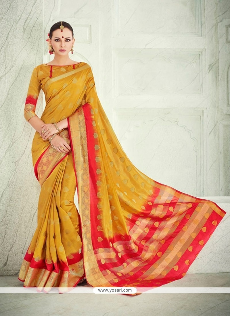 Invaluable Banarasi Silk Mustard Patch Border Work Designer Saree