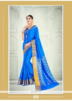Intriguing Patch Border Work Blue Designer Saree
