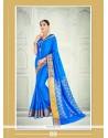 Intriguing Patch Border Work Blue Designer Saree