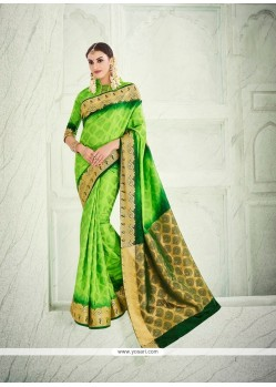 Blooming Green Patch Border Work Designer Saree
