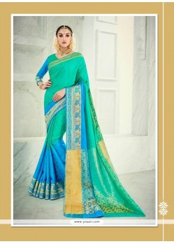 Engrossing Banarasi Silk Sea Green Designer Saree