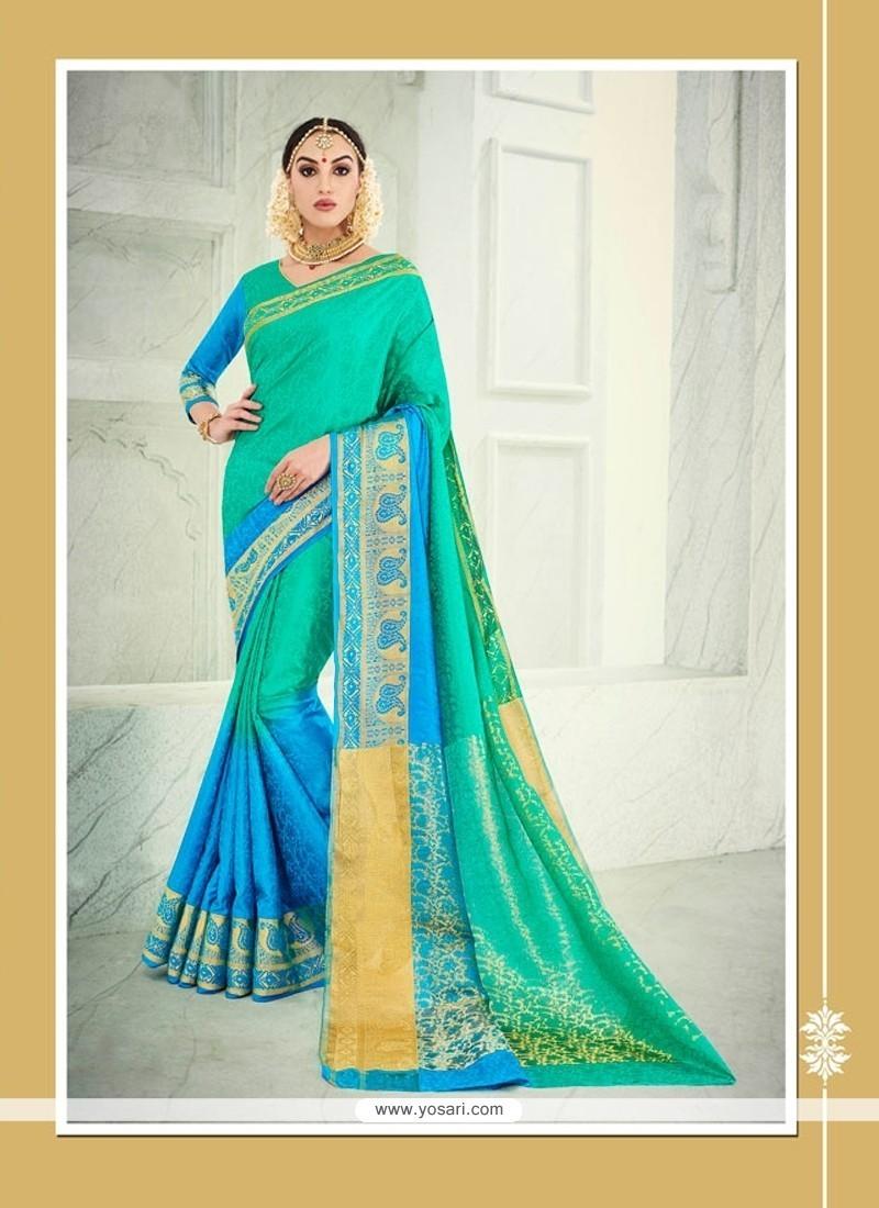 Engrossing Banarasi Silk Sea Green Designer Saree