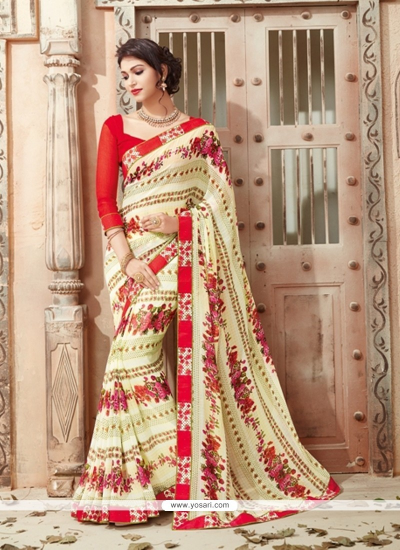Delightful Georgette Multi Colour Print Work Casual Saree