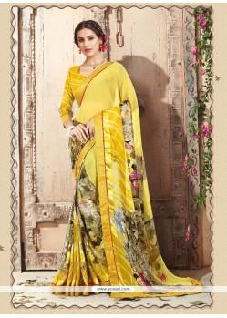Mesmeric Yellow Print Work Casual Saree