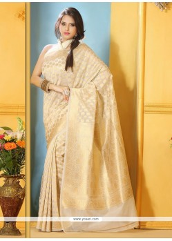Lovely Beige Benarasi Silk Saree