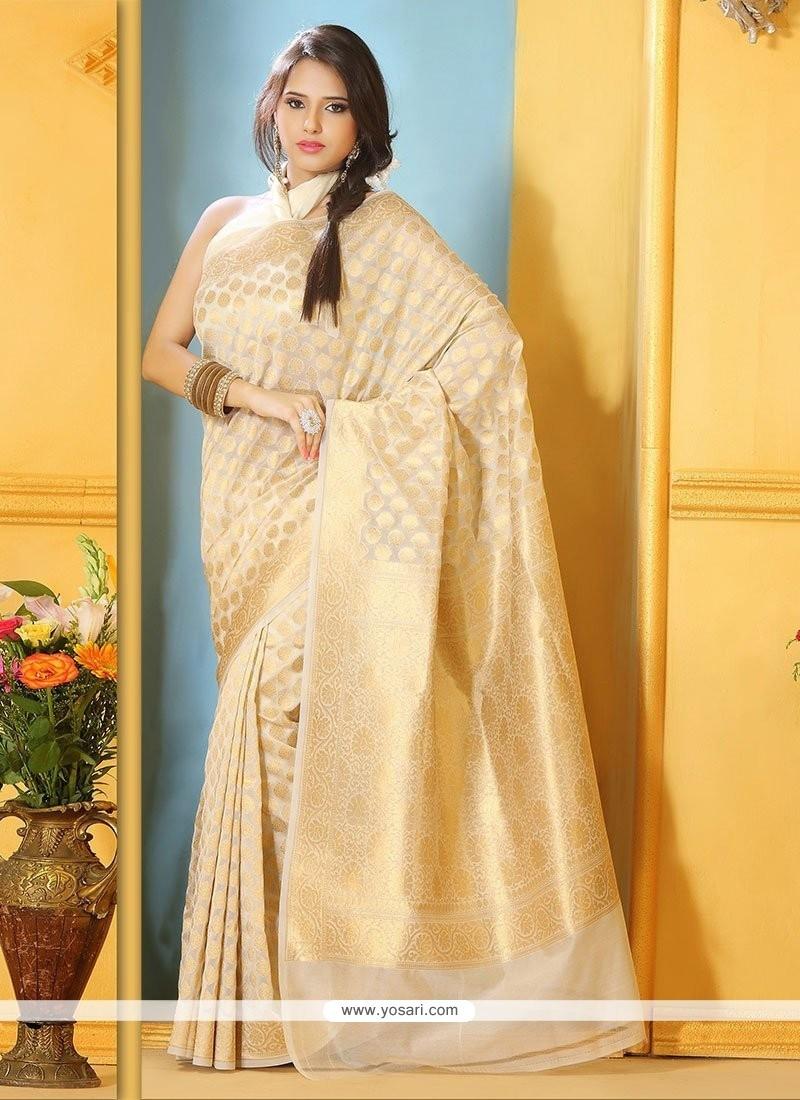 Lovely Beige Benarasi Silk Saree