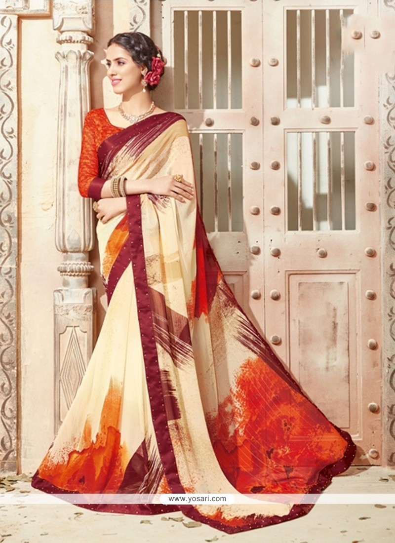 Lavish Georgette Print Work Casual Saree