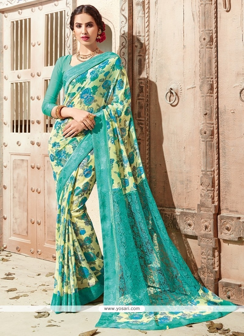 Flawless Multi Colour Print Work Georgette Casual Saree
