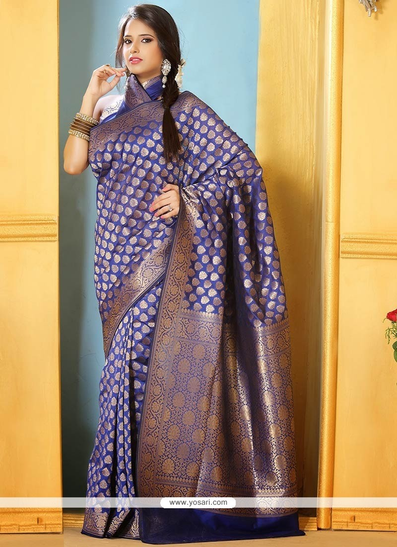 Latest Blue Benarasi Silk Saree