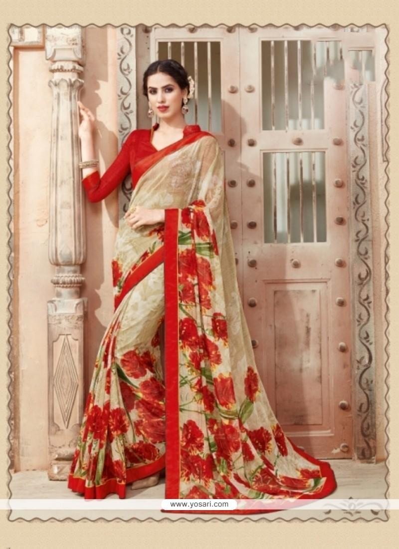 Flawless Multi Colour Georgette Casual Saree