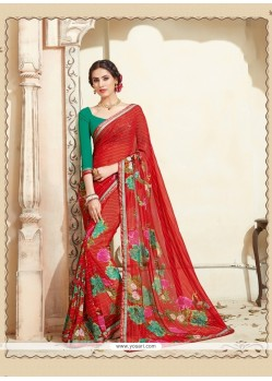 Urbane Multi Colour Print Work Casual Saree