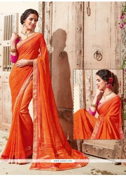Bewildering Orange Georgette Casual Saree