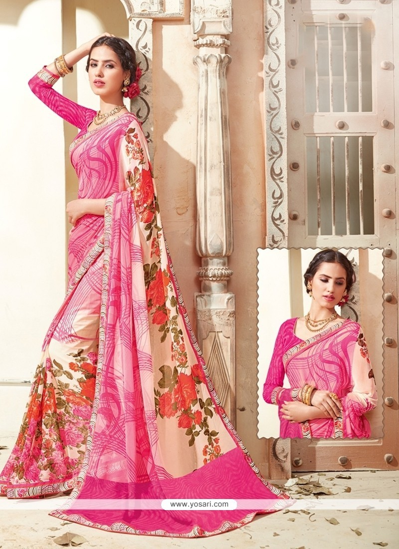 Radiant Print Work Georgette Casual Saree