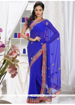 Markable Blue Faux Georgette Saree