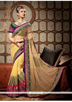 Ayesha Takia Cream Georgette Designer Saree
