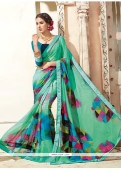 Sumptuous Georgette Multi Colour Print Work Casual Saree