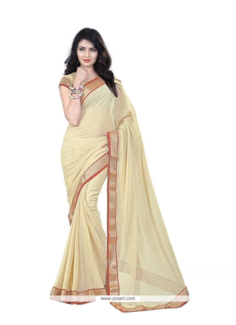 Radiant Patch Border Work Faux Chiffon Casual Saree