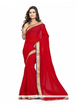 Voguish Patch Border Work Faux Chiffon Casual Saree