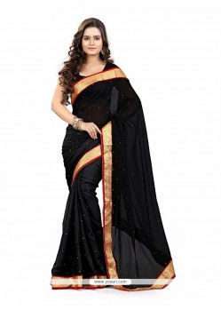Hypnotic Faux Chiffon Black Patch Border Work Casual Saree