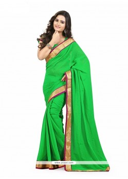 Festal Patch Border Work Faux Chiffon Casual Saree