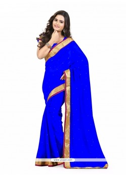 Elite Blue Faux Chiffon Casual Saree