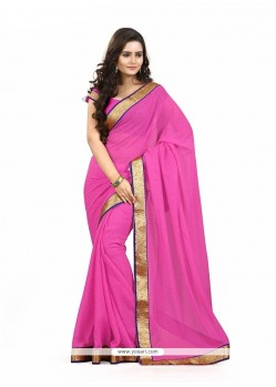 Striking Faux Chiffon Patch Border Work Casual Saree