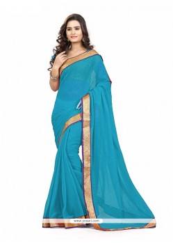 Blue Patch Border Work Faux Chiffon Casual Saree