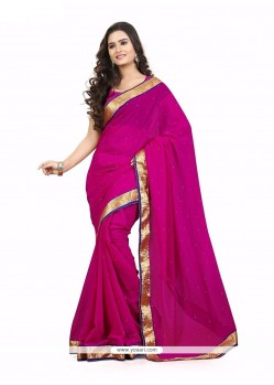 Lustre Faux Chiffon Patch Border Work Casual Saree