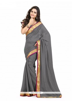 Staggering Faux Chiffon Grey Patch Border Work Casual Saree