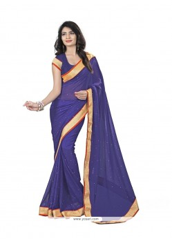 Intriguing Faux Chiffon Navy Blue Patch Border Work Casual Saree