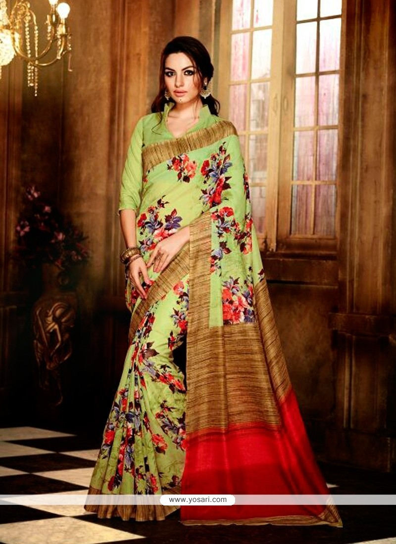 Competent Handloom Silk Multi Colour Print Work Casual Saree