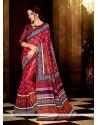 Lustrous Multi Colour Print Work Handloom Silk Casual Saree
